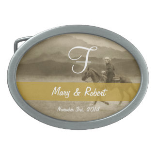 Riding in the Desert Sepia Monogram Oval Belt Buckle