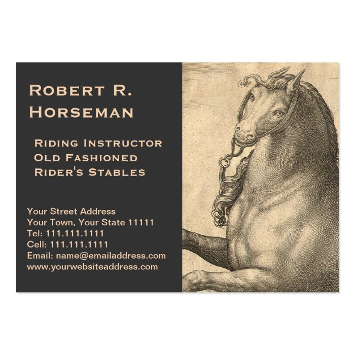 Riding Instructor Equestrian Antique Horse Vintage Large Business Card