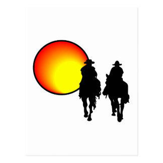 Riding Into Sunset Postcard