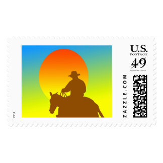 Riding into the sunset postage stamps