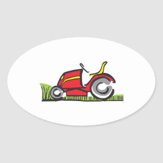 RIDING LAWNMOWER OVAL STICKER