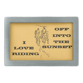 Riding Off Into The Sunset Rectangular Belt Buckle