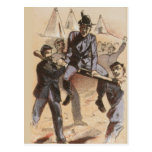 Riding on the Rail Civil War Life Postcard