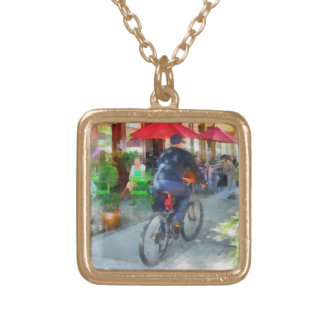 Riding Past the Cafe Gold Plated Necklace