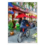 Riding Past the Cafe Greeting Card