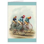 Riding Roosters Greeting Card