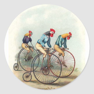 Riding Roosters Round Stickers