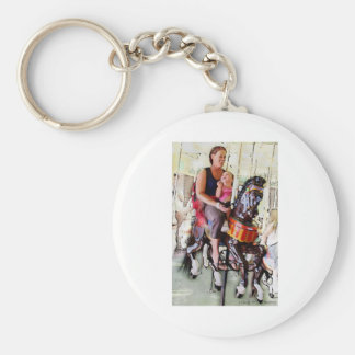 Riding the Carousel with Mom Basic Round Button Keychain