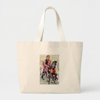 Riding the Carousel with Mom Large Tote Bag