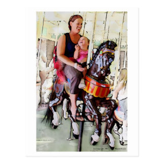 Riding the Carousel with Mom Postcard