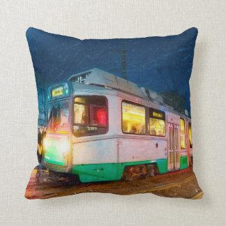 Riding The Green Line - Boston Nights Throw Pillows