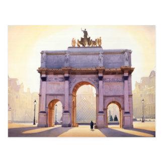 """Riding the Light"" Carousel in Paris Watercolor Postcard"