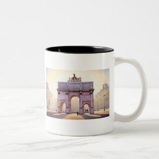 """Riding the Light"" Carousel in Paris Watercolor Two-Tone Coffee Mug"