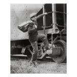 Riding the Rails, 1935. Vintage Photo Poster