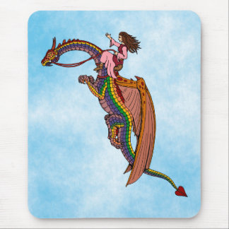 Riding the Rainbow Dragon Mouse Pad