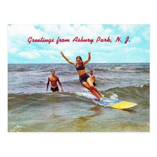 Riding the Surf, Asbury Park, NJ Vintage Postcard