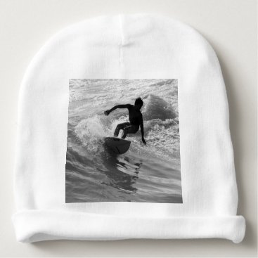 Beach Themed Riding The Wave Grayscale Baby Beanie