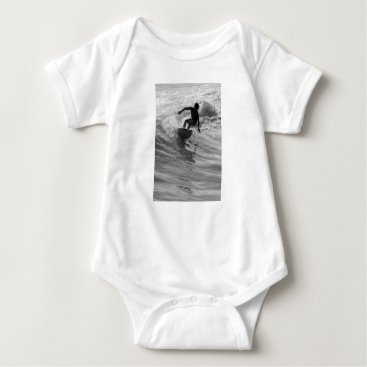 Beach Themed Riding The Wave Grayscale Baby Bodysuit