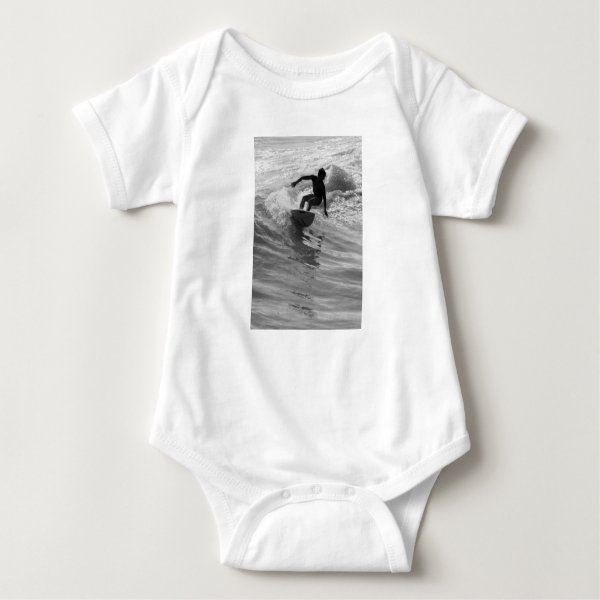 Riding The Wave Grayscale Baby Bodysuit
