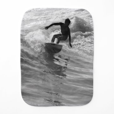 Beach Themed Riding The Wave Grayscale Baby Burp Cloth