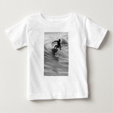 Beach Themed Riding The Wave Grayscale Baby T-Shirt