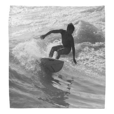 Beach Themed Riding The Wave Grayscale Bandana