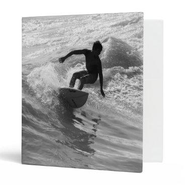 Beach Themed Riding The Wave Grayscale Binder