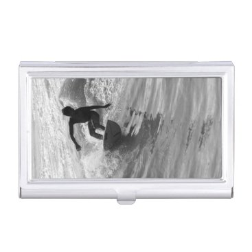 Riding The Wave Grayscale Business Card Case