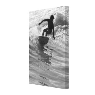 Beach Themed Riding The Wave Grayscale Canvas Print