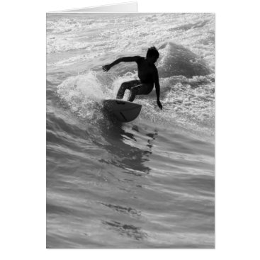 Beach Themed Riding The Wave Grayscale Card