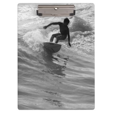 Beach Themed Riding The Wave Grayscale Clipboard