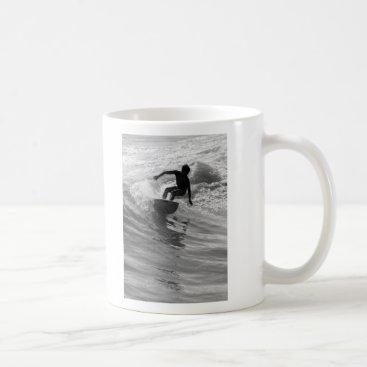 Beach Themed Riding The Wave Grayscale Coffee Mug