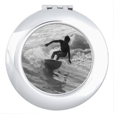 Beach Themed Riding The Wave Grayscale Compact Mirror