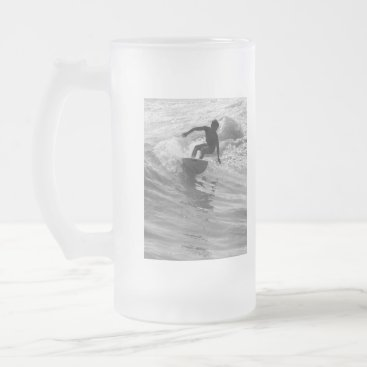 Beach Themed Riding The Wave Grayscale Frosted Glass Beer Mug