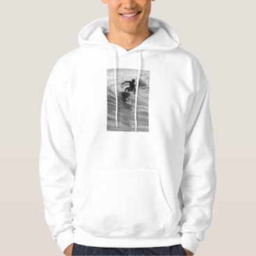 Beach Themed Riding The Wave Grayscale Hoodie