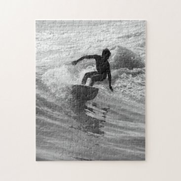Beach Themed Riding The Wave Grayscale Jigsaw Puzzle