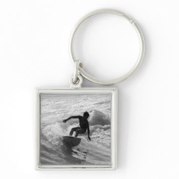 Beach Themed Riding The Wave Grayscale Keychain
