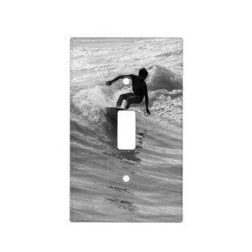Beach Themed Riding The Wave Grayscale Light Switch Cover