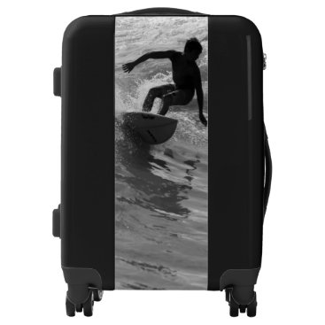 Beach Themed Riding The Wave Grayscale Luggage
