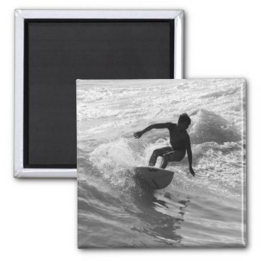 Beach Themed Riding The Wave Grayscale Magnet