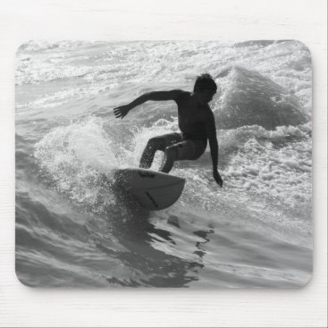 Beach Themed Riding The Wave Grayscale Mouse Pad