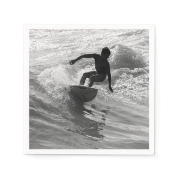 Beach Themed Riding The Wave Grayscale Napkin