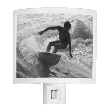 Beach Themed Riding The Wave Grayscale Night Light