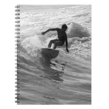 Beach Themed Riding The Wave Grayscale Notebook