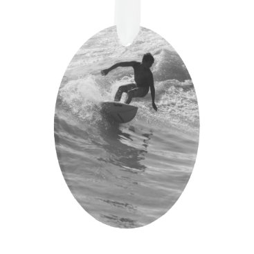 Beach Themed Riding The Wave Grayscale Ornament