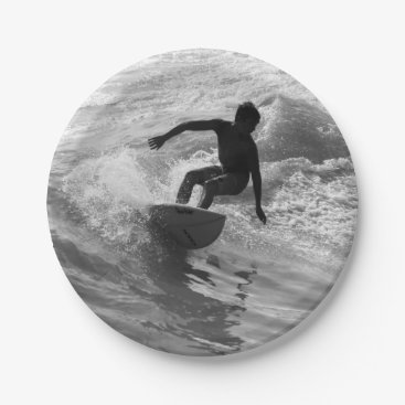 Beach Themed Riding The Wave Grayscale Paper Plate