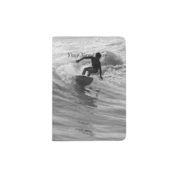 Riding The Wave Grayscale Passport Holder