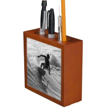 Beach Themed Riding The Wave Grayscale Pencil/Pen Holder