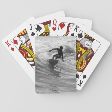 Beach Themed Riding The Wave Grayscale Playing Cards
