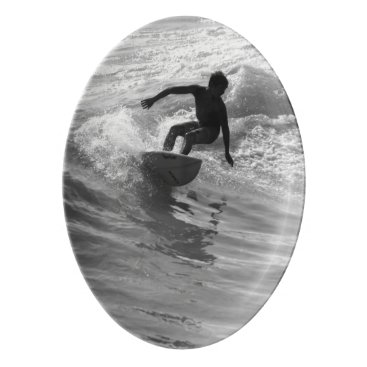 Beach Themed Riding The Wave Grayscale Porcelain Serving Platter